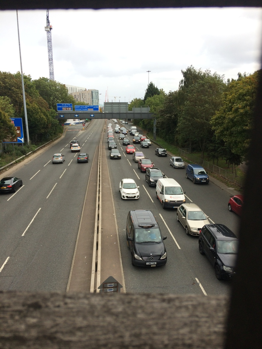 Deansgate interchange traffic during the day